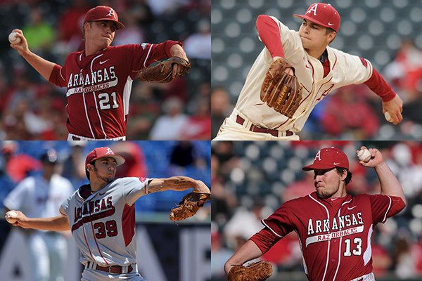 Clockwise: Arkansans Trey Killian (Norfork), Jalen Beeks (Prairie Grove), Michael Gunn (Wilson) and Chris Oliver (Farmington) have led the Razorbacks' pitching staff this season.