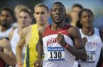 Arkansas runner Patrick Rono leads the pack in the men's 800 meter run Thursday during the 2014 NCAA Track & Field West Preliminary meet at John McDonnell Field in Fayetteville.