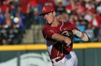 Arkansas second baseman Brian Anderson makes a play during a game against South Carolina on Friday, April 5, 2014 at Baum Stadium in Fayetteville.