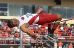 Arkansas jumper Anthony May competes in the high jump during the NCAA Track & Field West Preliminaries on Friday, May 30, 2014 at John McDonnell field in Fayetteville.