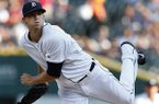Detroit Tigers pitcher Drew Smyly throws against the Boston Red Sox in the first inning of a baseball game in Detroit, Friday, June 6, 2014. (AP Photo/Paul Sancya)