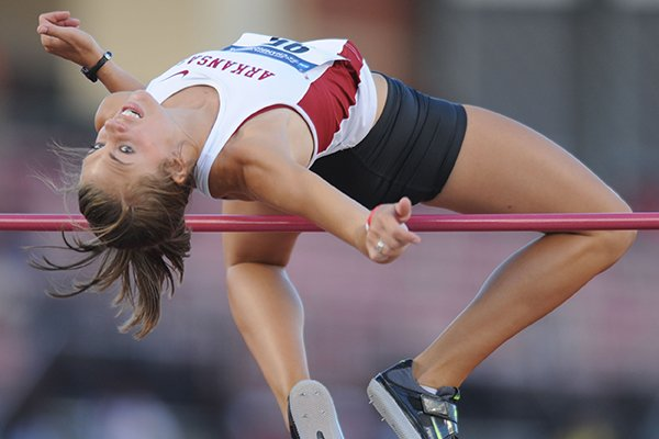 Arkansas senior Kirsten Hesseltine competes in the high jump during the third day of the NCAA Outdoor Track and Field West Preliminary Meet at John McDonnell Field in Fayetteville.
