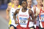 Arkansas junior Stanley Kebenei (120) leads the pack as he competes in the 5,000 meters during the third day of the NCAA Outdoor Track and Field West Preliminary Meet at John McDonnell Field in Fayetteville.