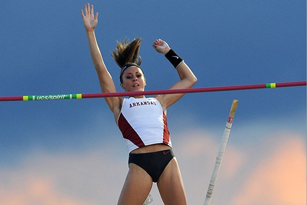Arkansas pole vaulter Megan Zimlich clears the bar Thursday, May 30, 2014 at the NCAA Track and Field West Preliminary meet at John McDonnell Field in Fayetteville.