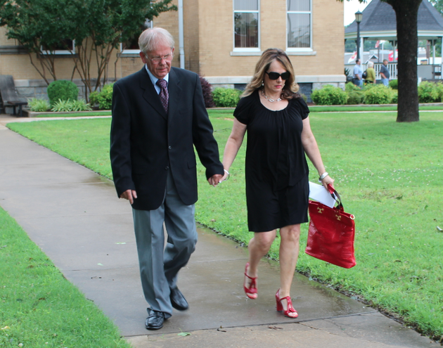 former-saline-county-sheriff-bruce-pennington-leaves-the-saline-county-courthouse-alongside-his-wife-barbara-pennington-after-pleading-not-guilty-to-charges-filed-against-him-last-month