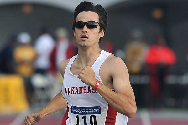 Arkansas' Neil Braddy crosses the finish line during 400 meter race Thursday, May 29, 2014 at the NCAA Track and Field West Preliminary meet at John McDonnell Field in Fayetteville.