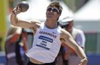 Arkansas' Kevin Lazas throws during the decathlon shot put event at the NCAA outdoor track and field championships on Wednesday, June 11, 2014, in Eugene, Ore. (AP Photo/Rick Bowmer)