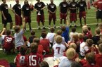 Razorback players do a Q&A at the Youth Camp.