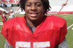 DL-FB Kenyon Jackson of Little Rock Parkview impressed Arkansas Coach Bret Bielema during the Hogs' three-day camp.