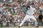 Detroit Tigers starting pitcher Drew Smyly throws during the seventh inning of a baseball game against the Kansas City Royals in Detroit, Wednesday, June 18, 2014. (AP Photo/Carlos Osorio)