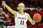 Arkansas point guard Calli Berna brings the ball up court during a Feb. 6, 2014 game at Bud Walton Arena in Fayetteville.