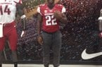 Arkansas running back commitment Rawleigh Williams sports a Hog jersey during Wednesday's visit.