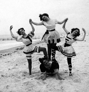 Swimsuit styles have changed a great deal over the years, as this photo, taken at Coney Island, N.Y. around 1898, shows. Illustrates KIDSPOST-SWIMSUITS (category l), by Marylou Tousignant, special to The Washington Post. Moved Monday June 2, 2014. (MUST CREDIT: Strohmeyer & Wyman/Library of Congress)