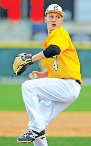FILE PHOTO ANDY SHUPE Prairie Grove starter Ty Tice delivers a pitch April 3 during the second inning against Farmington in Prairie Grove.