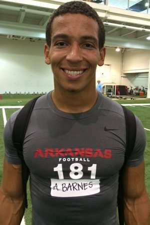 Running back-safety Alex Barnes was one of the best prospects to attend Arkansas' Elite Camp on Thursday.