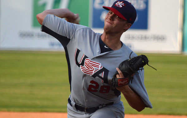 Trey Killian struck out seven batters in three innings for Team USA on Wednesday. (USA Baseball Photo)