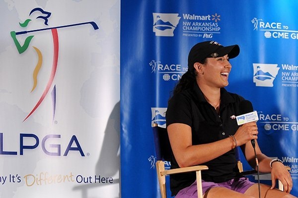 Emily Tubert speaks during a press conference during the Walmart NW Arkansas Championship presented by P&G at Pinnacle Country Club in Rogers on Thursday, June 26, 2014.