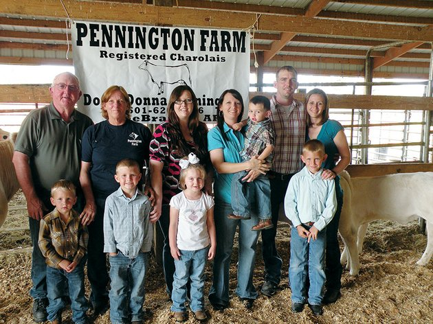 the-don-pennington-family-of-bee-branch-is-the-2014-van-buren-county-farm-family-of-the-year-family-members-include-front-row-from-left-carson-pennington-caleb-pennington-laci-burroughs-and-cole-pennington-and-back-row-don-and-donna-pennington-allison-pennington-amy-burroughs-holding-bentley-burroughs-and-brian-and-shawna-pennington-not-shown-is-jason-burroughs-the-penningtons-raise-hay-and-registered-charolais-cattle
