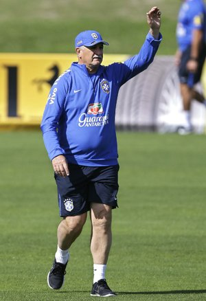 Brazil's coach Luiz Felipe Scolari gestures during a training session at the Granja Comary training center in Teresopolis, Brazil, Saturday, June 14, 2014. Brazil plays in group A at the 2014 soccer World Cup. (AP Photo/Andre Penner)