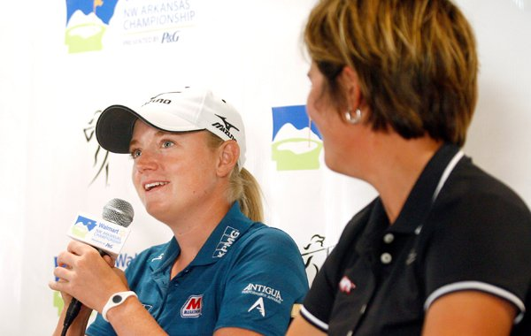 Stacy Lewis (left) and Arkansas head coach Shauna Estes-Taylor speak during a news conference at Pinnacle Country Club in Rogers during the pro-am on Wednesday, June 27, 2012, as part of the Wal-Mart NW Arkansas Championship.