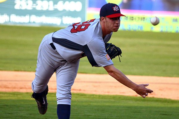 Arkansas right-handed pitcher Trey Killian struck out seven batters in three innings pitched in his Team USA debut on June 25, 2014. (USA Baseball Photo)