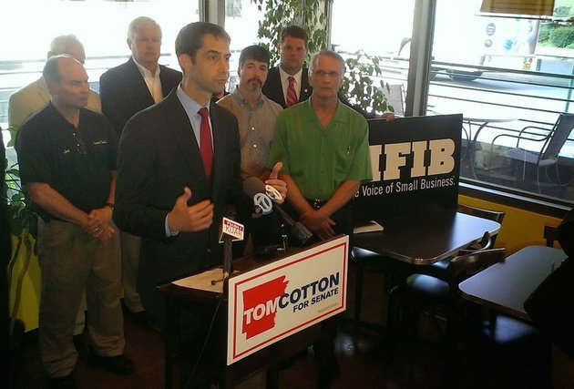 us-rep-tom-cotton-accepts-a-national-federation-of-independent-business-endorsement-tuesday-july-1-2014-at-sufficient-grounds-cafe-in-downtown-little-rock