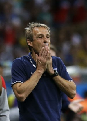 "United States soccer coach Jurgen Klinsmann said American fans are starting to care about the World Cup. ""They comment about it everywhere and that's good,"" he said."