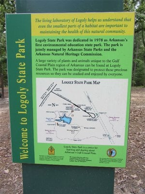 Logoly State Park, opened in 1978, is Arkansas' first state park dedicated to environmental education.