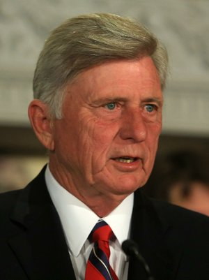 Arkansas Democrat-Gazette/RICK MCFARLAND --04/21/14--  Gov. Mike Beebe speaks at an event at the state Capitol Monday to celebrate the 40th anniversary of the Community Development Block Grant program. Since it's inception, more than $700 million has been administered through the Arkansas Economic Development Commission.