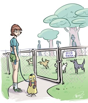 Arkansas Democrat-Gazette illustration about taking dogs to the dog park.