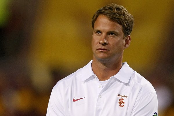 Southern California head coach Lane Kiffin reacts after losing to Arizona State 62-41 during an NCAA college football game on Saturday, Sept. 28 2013, in Tempe, Ariz. (AP Photo/Rick Scuteri)