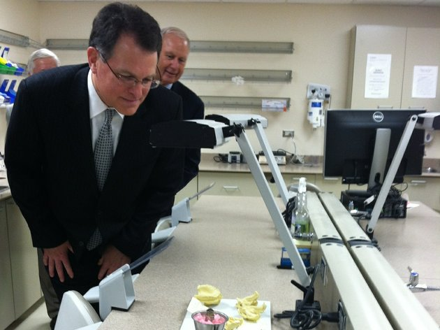 ed-choate-president-and-ceo-of-delta-dental-examines-part-of-the-new-delta-dental-of-arkansas-foundation-oral-health-clinic-at-the-university-of-arkansas-for-medical-sciences-on-friday