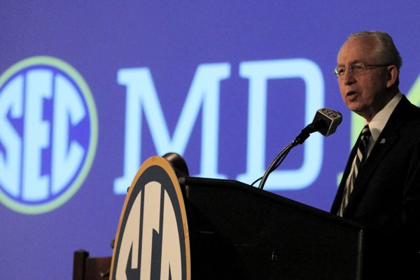 Southeastern Conference (SEC) Commissioner Mike Slive speaks during SEC media days on Monday, July 14, 2014, in Hoover, Ala. (AP Photo/Butch Dill)