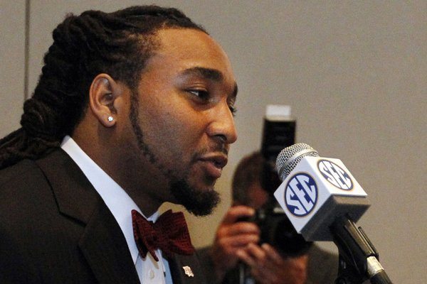 Arkansas safety Alan Turner speaks to the media at the Southeastern Conference NCAA college football media days, Wednesday, July 16, 2014, in Hoover, Ala. (AP Photo/Butch Dill)