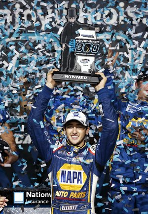 Chase Elliott celebrates in Victory Lane after winning Saturday's NASCAR Nationwide Series race at Chicagoland Speedway in Joliet, Ill. It was Elliott's third victory of the season.