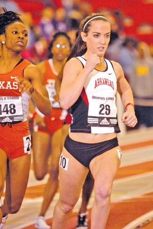 FILE PHOTO MICHAEL WOODS Paige Farrell was a four-time state champion in the 400 meters and won the state title in the 800 meters as a senior at Springdale. Her state record of 55.54 seconds in the 400 meters still stands. Farrell was also a four-time All-American, a four-time All-Southeastern Conference selection and a member of five school record-setting relay teams at the University of Arkansas.