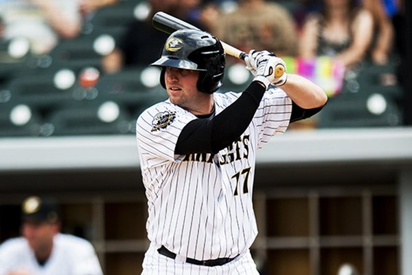 Former Arkansas infielder Andy Wilkins was named the International League Batter of the Week for the period of July 14-20, 2014. (photo courtesy of Charlotte Knights)