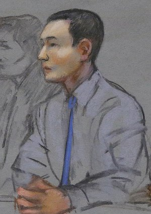 In this May 13, 2014 file courtroom sketch, defendant Azamat Tazhayakov, a college friend of Boston Marathon bombing suspect Dzhokhar Tsarnaev, sits during a hearing in federal court in Boston. Tazhayakov, of Kazakhstan, was convicted Monday, July 21, 2014 of obstruction of justice and conspiracy, impeding the investigation into the bombing. Prosecutors said he agreed with a plan by another friend, Dias Kadyrbayev, to remove Tsarnaev's backpack containing altered fireworks from his dorm room a few days after the 2013 bombings.