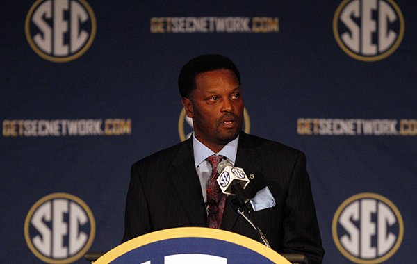 Texas A&M Coach Kevin Sumlin speaks to media at the Southeastern Conference NCAA college football media days on Tuesday, July 15, 2014, in Hoover, Ala. (AP Photo/Butch Dill)
