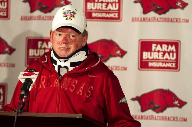 arkansas-football-coach-bobby-petrino-speaks-during-a-news-conference-at-a-fayetteville-ark-on-tuesday-april-3-2012-after-being-released-from-a-hospital-after-he-was-injured-in-a-motorcycle-accident-on-sunday-april-1-the-51-year-old-says-he-was-not-wearing-a-helmet-at-the-time-of-the-crash-which-occurred-on-arkansas-highway-16-in-madison-county-_-about-20-miles-southeast-of-fayetteville-state-law-does-not-require-an-adult-rider-wear-a-helmet-ap-photogareth-patterson