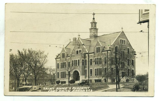 fort-smith-circa-1924-established-in-1853-by-the-sisters-of-mercy-st-annes-academy-educated-young-arkansans-for-120-years-a-notable-example-of-romanesque-architecture-this-building-was-constructed-in-1901-it-was-demolished-in-1974-a-year-after-the-school-closed-its-doors-send-questions-or-comments-to-arkansas-postcard-past-po-box-2221-little-rock-ark-72203
