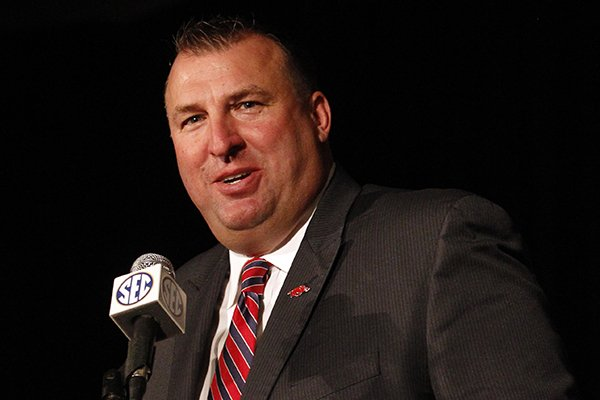 Arkansas coach Bret Bielema speaks to media at the Southeastern Conference football media days on Wednesday, July 16, 2014, in Hoover, Ala. (AP Photo/Butch Dill)