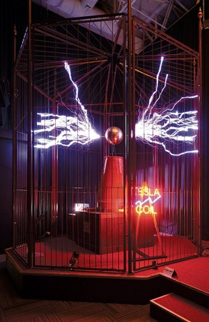 Night the museum party before closing for renovations the worlds most powerful conical tesla coil is on display at the mid america science sciox Choice Image