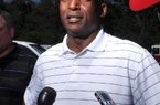 STAFF PHOTO BEN GOFF  @NWABenGoff -- 07/25/14 Randy Shannon, Arkansas linebacker coach, speaks to the media prior to the George Billingsley NWA Razorback Club Celebrity Scramble golf tournament at the Kingsdale Golf Complex in Bella Vista on Friday July 25, 2014.