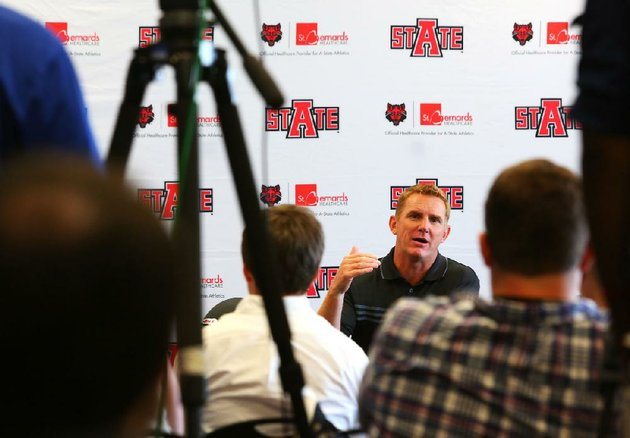 arkansas-state-coach-blake-anderson-speaks-to-members-of-the-media-wednesday-in-jonesboro-a-former-offensive-coordinator-anderson-will-not-be-calling-offensive-plays-this-year-for-the-fi-rst-time-in-eight-seasons