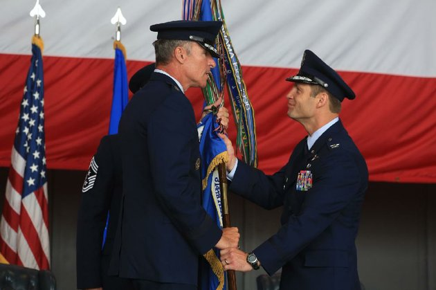 arkansas-democrat-gazetterick-mcfarland-073114-col-james-dryjanski-right-the-new-commander-for-the-314th-airlift-wing-accepts-the-guidon-that-represents-the-wing-and-its-commanding-officer-from-maj-gen-michael-keltz-during-a-change-of-command-ceremony-at-the-little-rock-air-force-base-in-jacksonville-thursday-dryjanski-is-taking-over-for-col-scott-brewer-who-is-going-to-washington-dc-to-work-in-air-force-headquarters