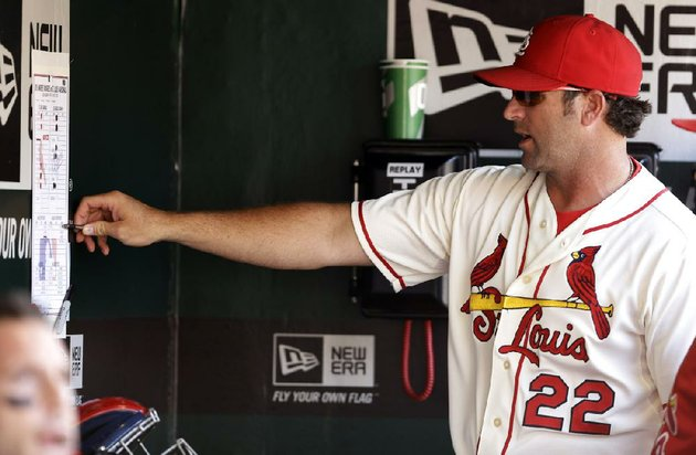 st-louis-cardinals-manager-mike-matheny-points-to-a-lineup-in-the-dugout-during-a-baseball-game-against-the-los-angeles-dodgers-saturday-july-19-2014-in-st-louis-ap-photojeff-roberson