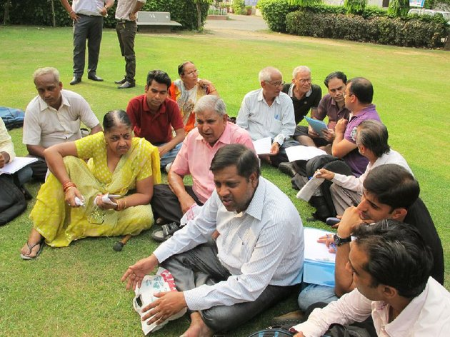 family-members-facing-dowry-harassment-charges-wrongfully-they-say-gather-on-the-courthouse-lawn-in-new-delhi-in-a-weekly-meeting-of-a-support-group-that-says-lying-wives-and-manipulative-daughters-in-law-are-the-problem