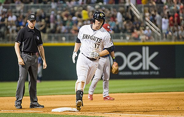 Former Arkansas infielder Andy Wilkins was named the International League Player of the Month for July 2014 after batting .431 and belting 12 home runs during the month. (photo courtesy of Charlotte Knights)