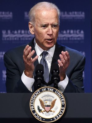 Vice President Joe Biden gestures as he speaks in Washington, Monday, Aug. 4, 2014, during the Civil Society Forum of the US Africa Summit.  President Barack Obama is gathering nearly 50 African heads of state in Washington for an unprecedented summit aimed in part at building his legacy on a continent where his commitment has been questioned. (AP Photo/Susan Walsh)